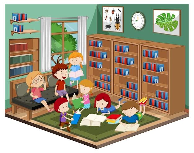 Kinder in der bibliothek mit möbeln Kostenlosen Vektoren