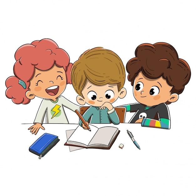 Kinder in der klasse, die hausaufgaben machen Premium Vektoren