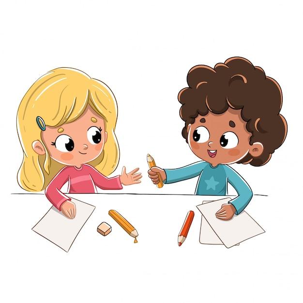 Kinder in der schule, die einen bleistift verleihen Premium Vektoren