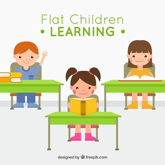 Kinder in der Schule sitzen Kostenlose Vektoren