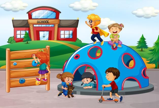 Kinder in der spielplatzszene Kostenlosen Vektoren