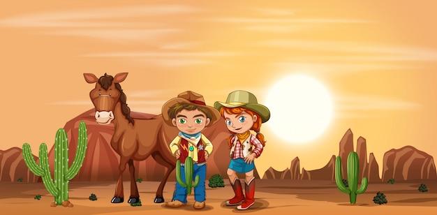 Kinder in der wüste Premium Vektoren