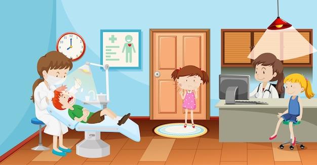 Kinder in der zahnklinik mit zahnarztszene Kostenlosen Vektoren