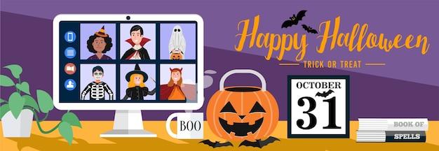 Kinder in halloween kleiden videotreffen zu hause. vektor Premium Vektoren