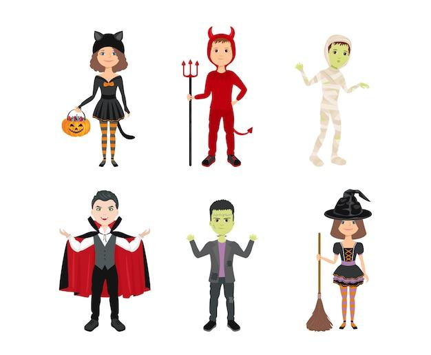 Kinder in halloween-kostümen isoliert Premium Vektoren