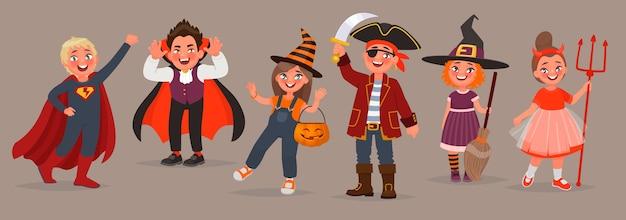 Kinder in halloween-kostümen. süßes oder saures. jungen und mädchen feiern die feiertage. element für design. vektorillustration im karikaturstil Premium Vektoren