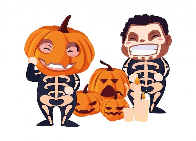 Kinder in halloween-kostümen Premium Vektoren