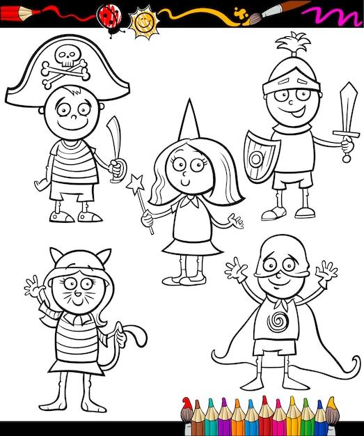 Kinder in kostümen gesetzt malvorlagen Premium Vektoren