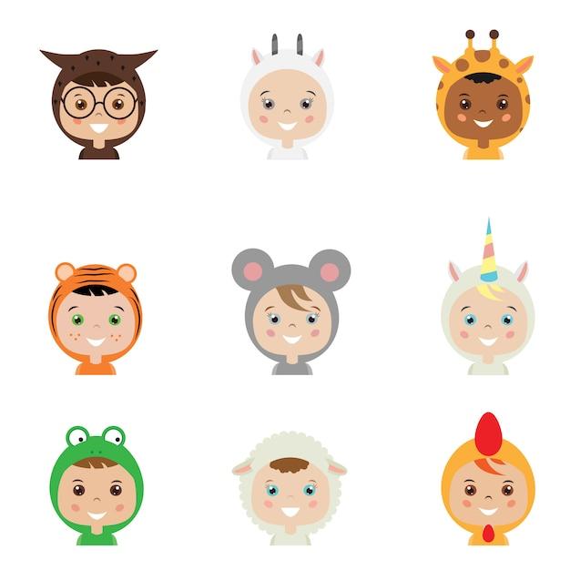 Kinder in tierkostümen Premium Vektoren