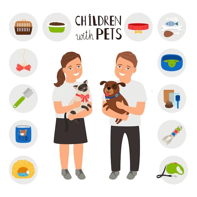 Kinder junge und mädchen mit haustieren katze und hund Premium Vektoren