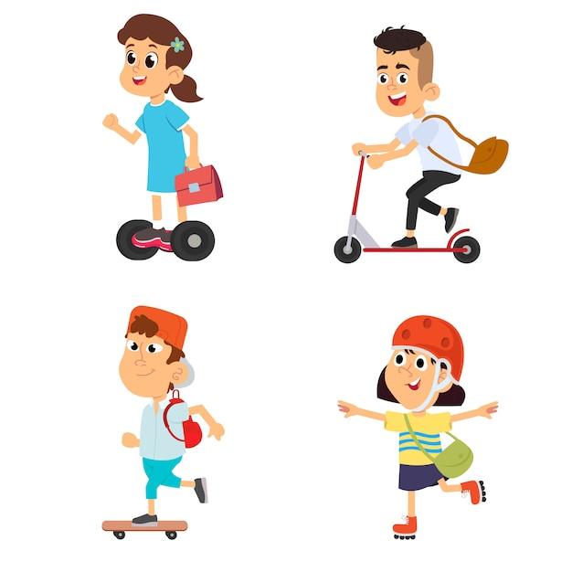 Kinder, jungen und mädchen auf rollschuhsammlung auf einem weiß Premium Vektoren