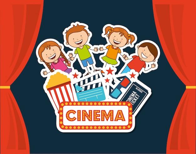 Kinder kinogänger Premium Vektoren