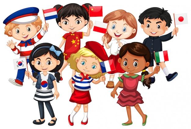 Kinder kommen aus verschiedenen ländern Kostenlosen Vektoren