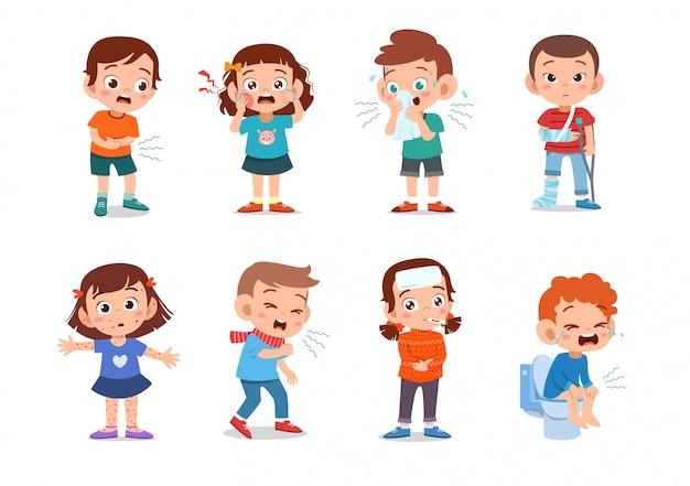 Kinder krank ungesund Premium Vektoren