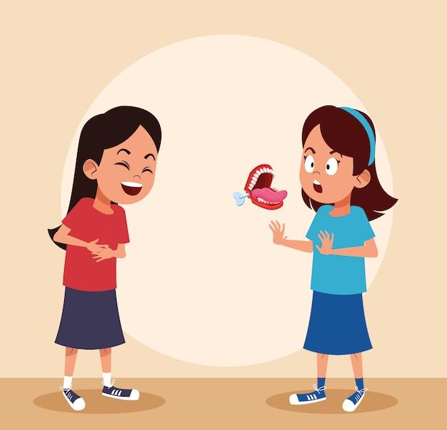 Kinder lachen mit witzen Premium Vektoren