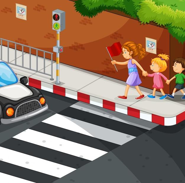 Kinder laufen auf dem bürgersteig Kostenlosen Vektoren