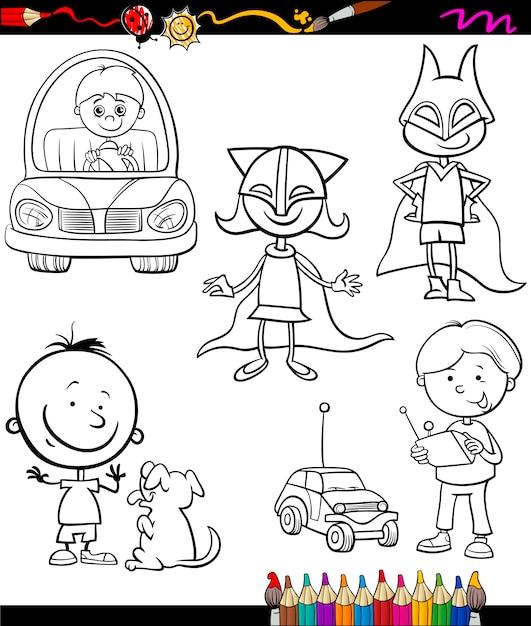 Kinder legen Cartoon Malvorlagen | Download der Premium Vektor
