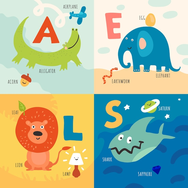 Kinder lernen alphabet mit tierillustrationskonzept Kostenlosen Vektoren