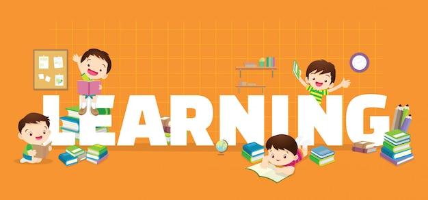 Kinder lernen banner Premium Vektoren
