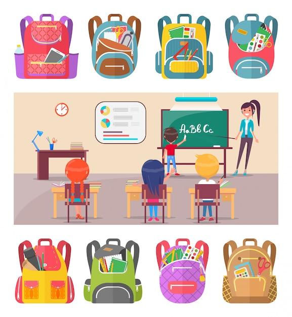 Kinder lernen briefe in der schule mit lehrer Premium Vektoren