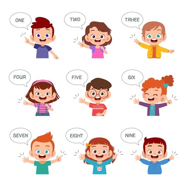 Kinder lernen zahl mit fingersatzbündel Premium Vektoren