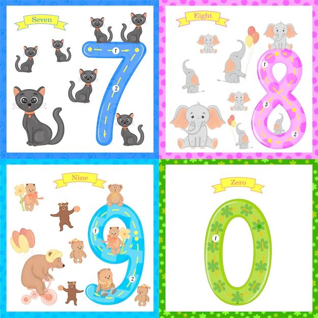 Kinder lernen zu zählen und zu schreiben. das studium der zahlen 0-10 Premium Vektoren