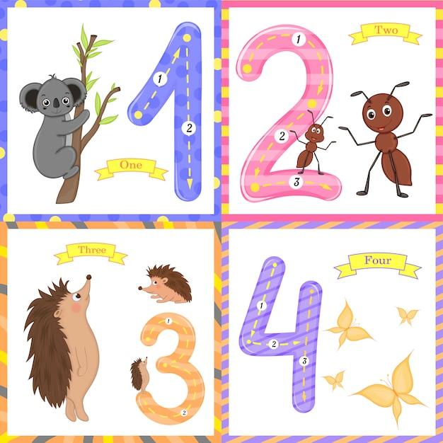Kinder lernen zu zählen und zu schreiben. das studium der zahlen Premium Vektoren