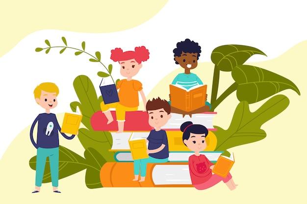 Kinder lesen bücher auf haufen von riesigen büchern, bildung und wissen, schüler, schüler und mädchen, leser, cartoon-illustration. Premium Vektoren