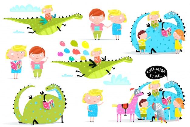 Kinder lesen bücher dragon clip art collection Premium Vektoren