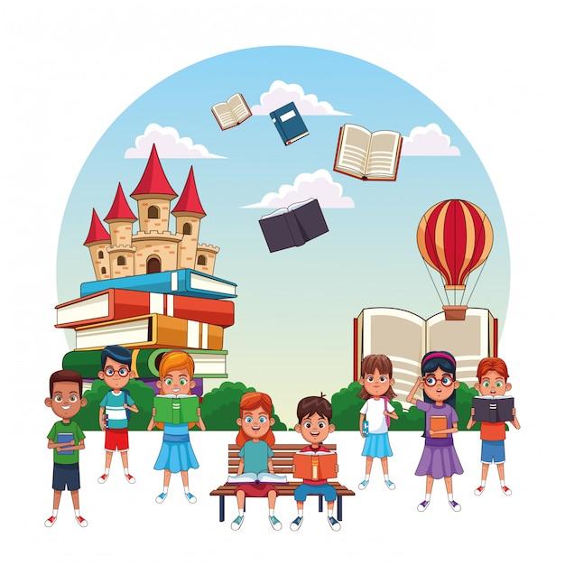 Kinder lesen märchen Premium Vektoren