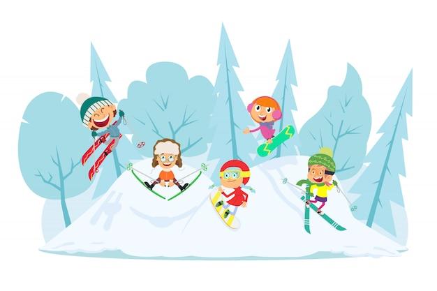 Kinder lieben wintersport. Premium Vektoren