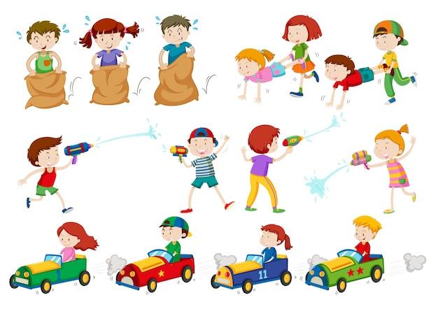 Kinder machen verschiedene Aktivitäten | Download der Premium Vektor