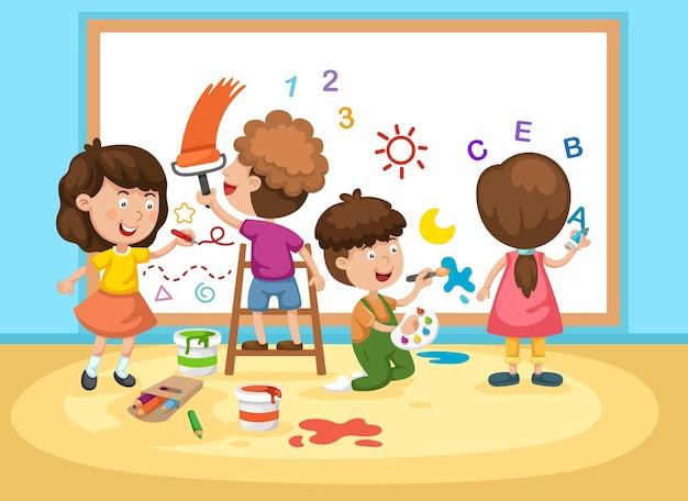 Kinder malen weiße tafel Premium Vektoren