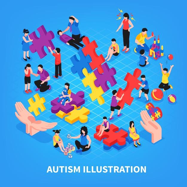 Kinder mit autismus während der spielkommunikation mit den lernenden eltern und der freundschaft auf blauer isometrischer illustration Kostenlosen Vektoren