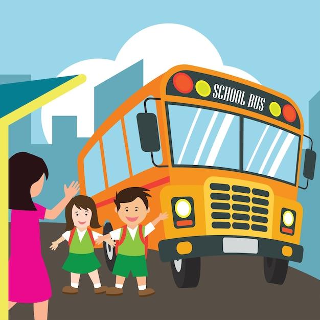 Japanische Schule Mädchen Bus