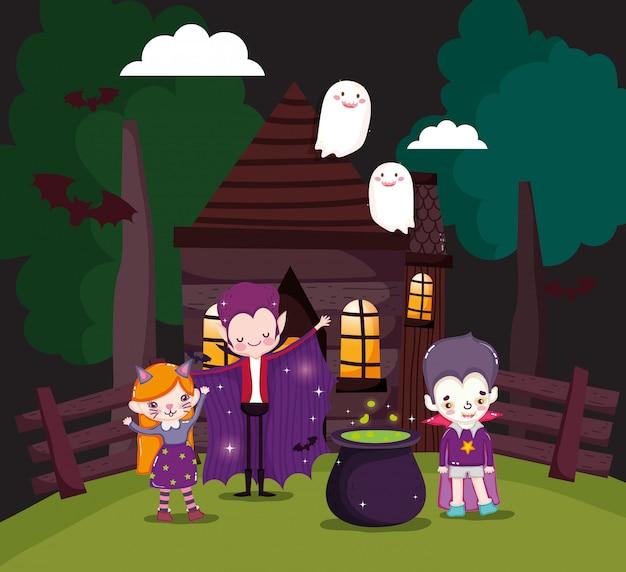 Kinder mit halloween-kostüm Premium Vektoren
