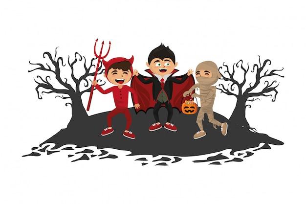 Kinder mit halloween-kostümen Premium Vektoren