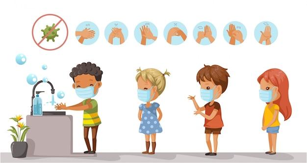 Kinder mit schutzmasken und kinder stehen an, um sich die hände zu waschen. coronavirus im zusammenhang Premium Vektoren