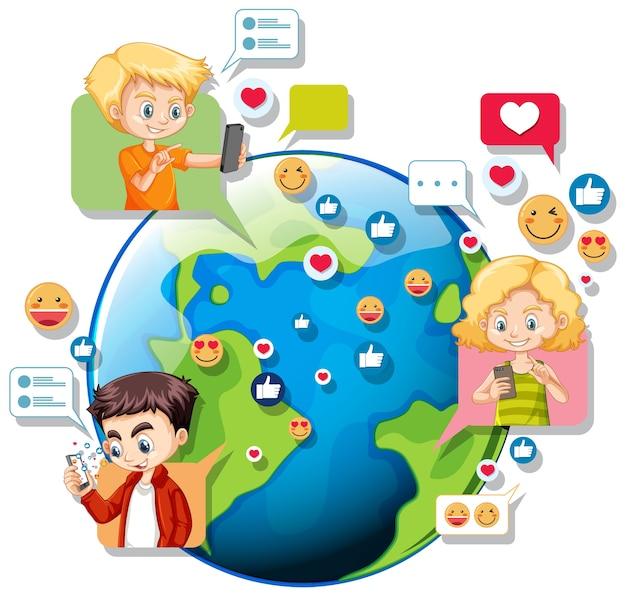 Kinder mit social-media-elementen auf der erde globus Kostenlosen Vektoren