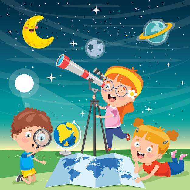 Kinder mit teleskop für astronomische forschung Premium Vektoren