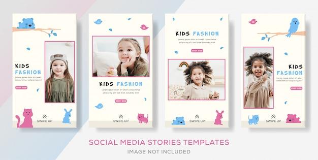 Kinder mode verkauf store banner vorlage geschichten beitrag. Premium Vektoren