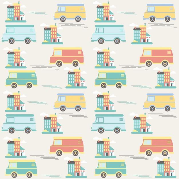 Kinder nahtlose muster mit autos und gebäuden Premium Vektoren
