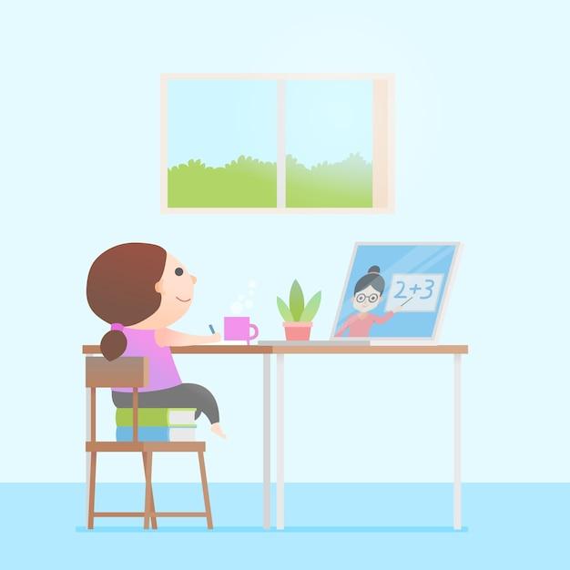Kinder nehmen online-unterrichtskonzept Kostenlosen Vektoren