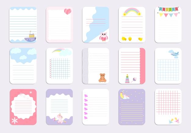 Kinder notizbuch seitenvorlage Premium Vektoren