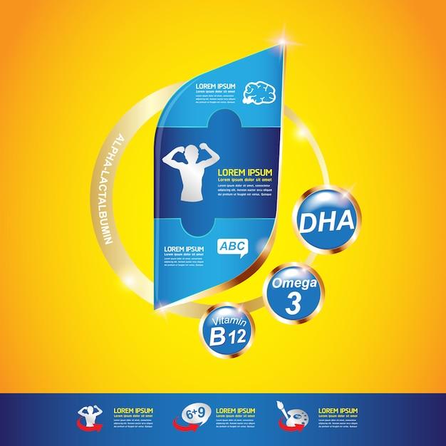 Kinder omega kalzium und vitamin Premium Vektoren