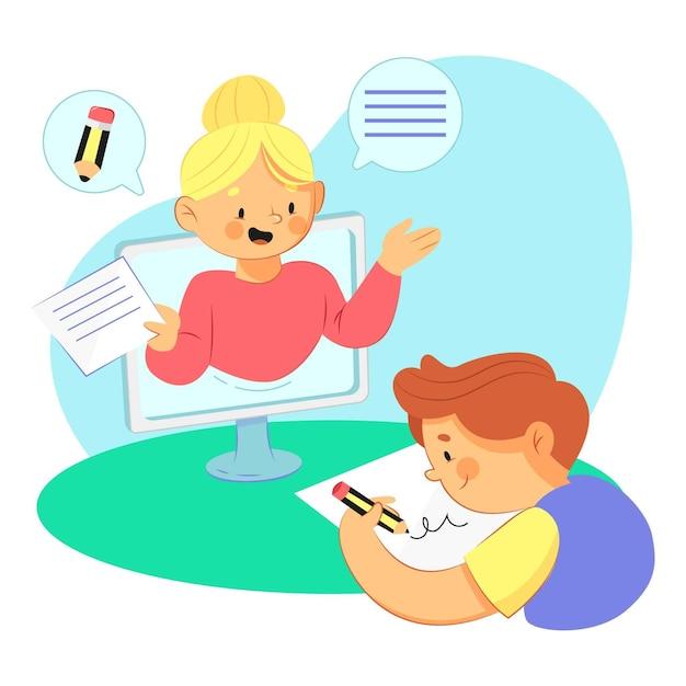 Kinder online-unterrichtskonzept Kostenlosen Vektoren
