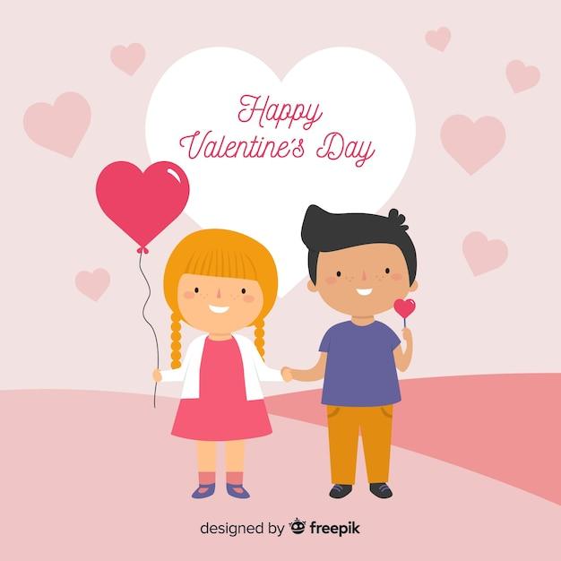 Kinder Paar Valentinstag Hintergrund Download Der Kostenlosen Vektor