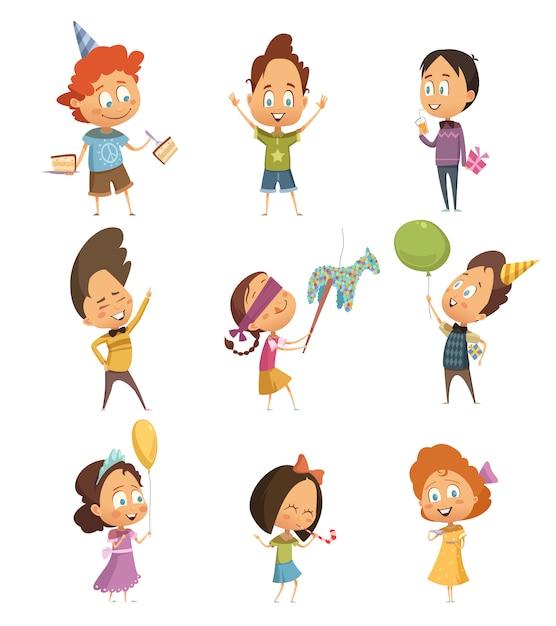 Kinder party retro icons set Kostenlosen Vektoren