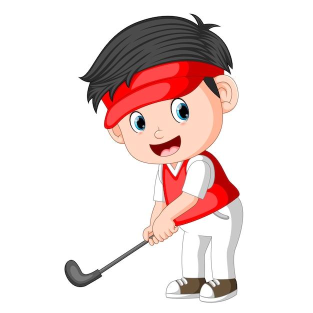 Kinder professionelle golfer Premium Vektoren