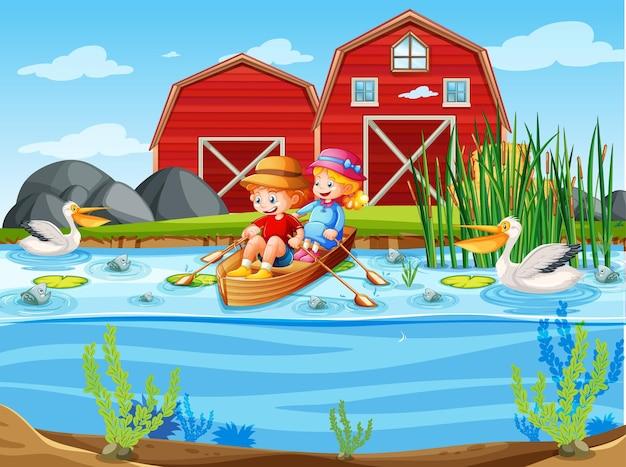 Kinder rudern das boot in der bachfarmszene Kostenlosen Vektoren